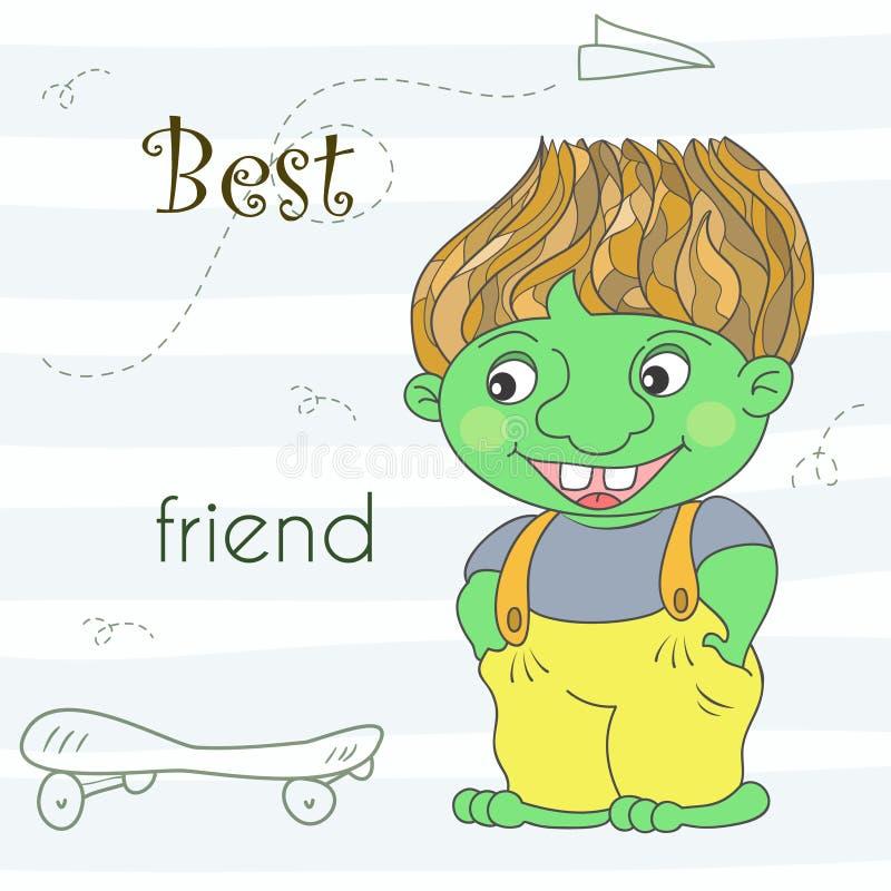 Dragon vert mignon de troll dans le style de bande dessinée Illustration comique témoin illustration stock