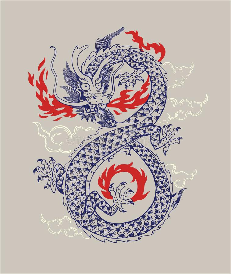 Dragon Vetora Illustration tradicional chinês Silhueta oriental do esboço de Dragon Infiniti Shape Isolated Ornament ilustração do vetor