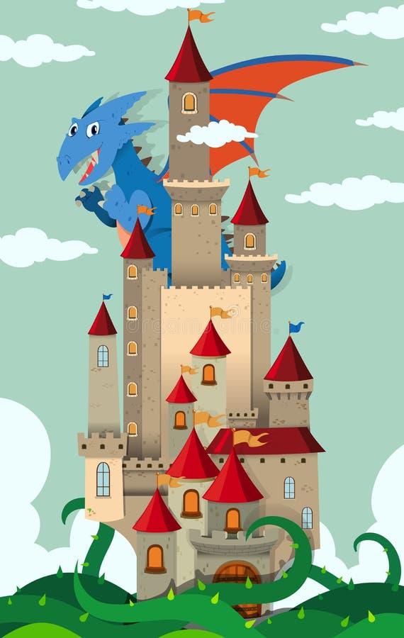 Dragon volant au-dessus du château illustration de vecteur