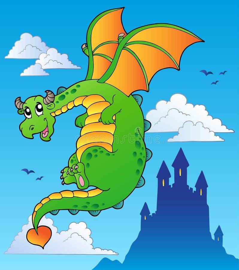 Dragon volant de conte de fées près de château illustration libre de droits