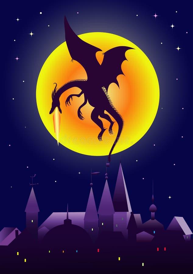 Dragon volcanique illustration de vecteur