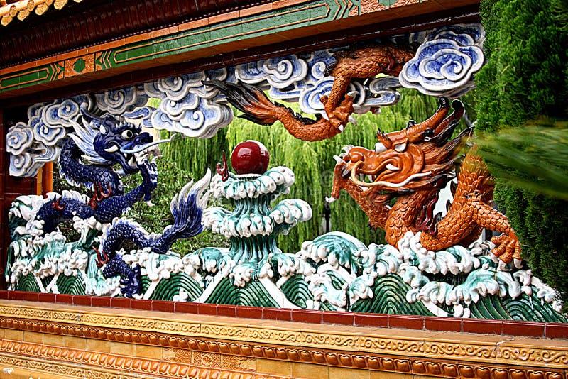 Dragon Wall in Chinese Vriendschapstuin stock afbeeldingen