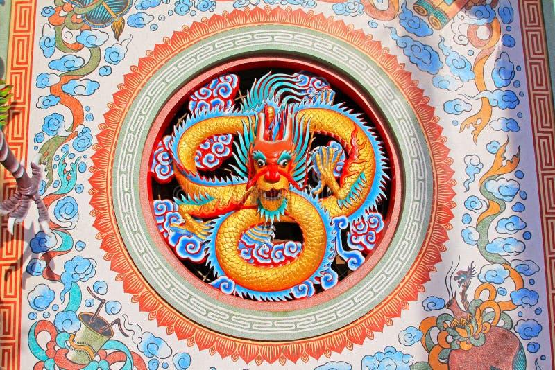 Dragon Wall In Hai Lam förbud Don Shrine, Surat Thani, Thailand royaltyfri bild