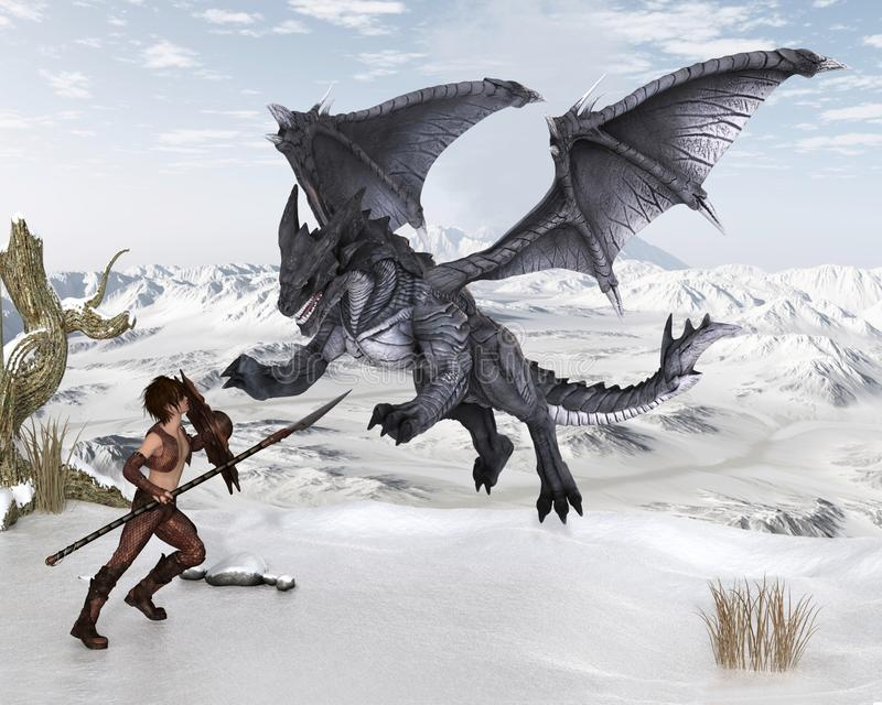 Dragon Warrior Boy Fighting een Draak in de Sneeuw royalty-vrije illustratie