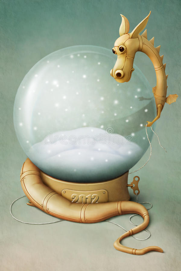 Download Dragon and Winter Globe stock illustration. Image of graphics - 22505565