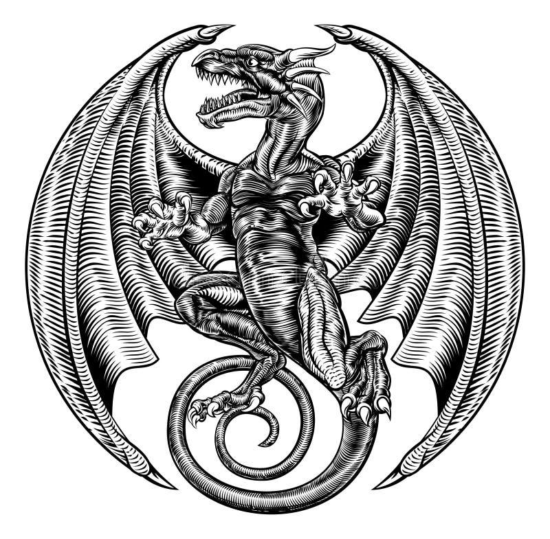 Dragon Woodcut con alas stock de ilustración