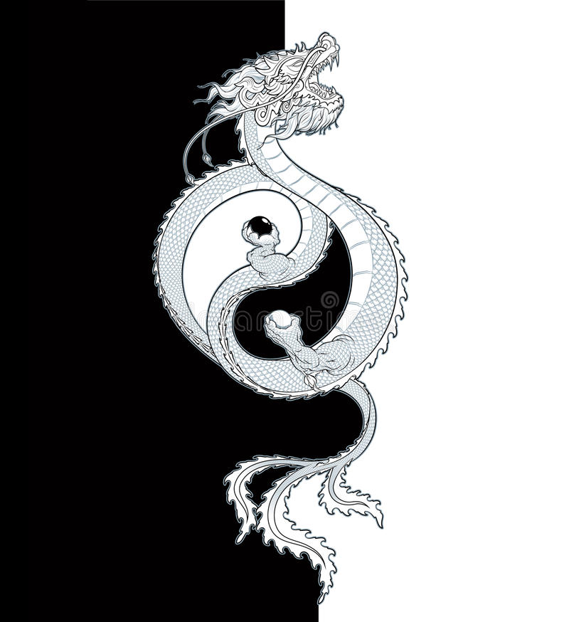 Dragon Yin-Yang orientale illustration stock