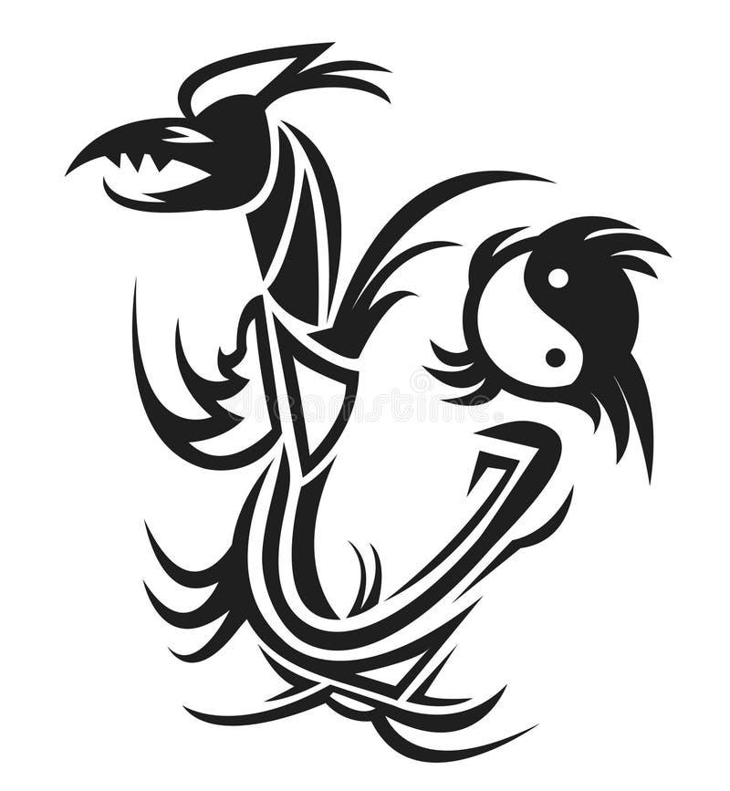 Dragon & yin yang tattoo vector illustration