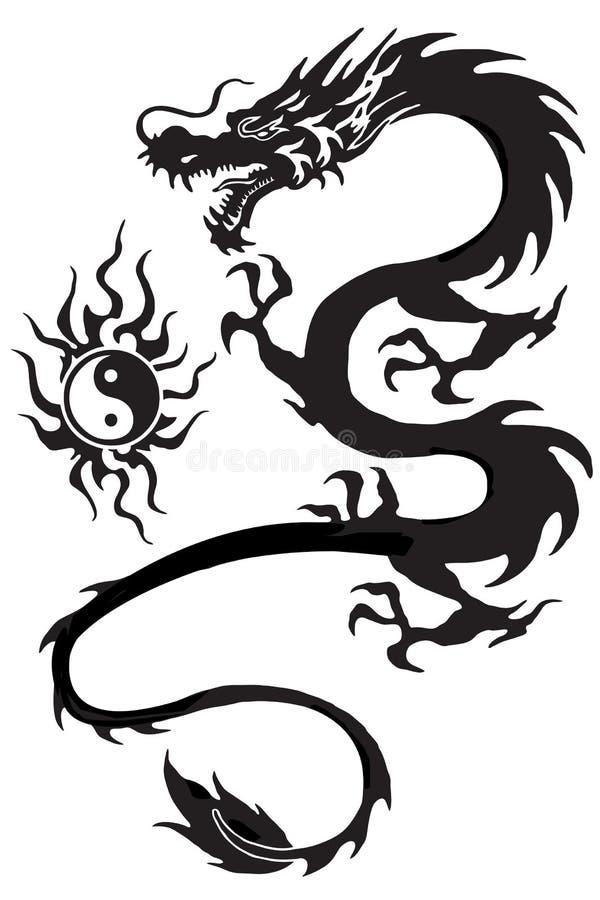 Dragon and yinyang symbol royalty free illustration