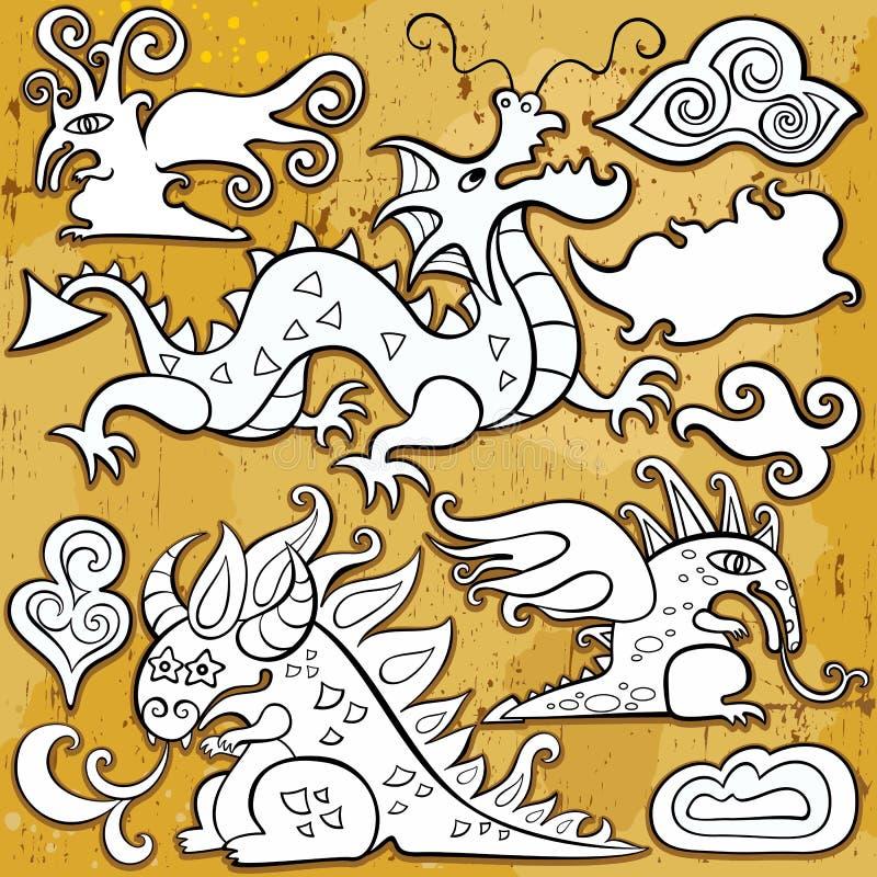 Dragones, conjunto del icono stock de ilustración