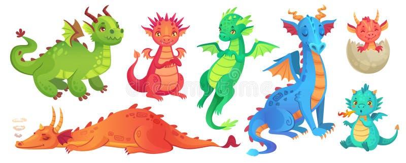 Dragones de hadas Dragón divertido del cuento de hadas, lagarto mágico lindo con las alas e historieta de respiración de la serpi ilustración del vector