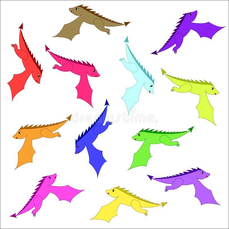 Dragones de hadas Dragón divertido del cuento de hadas, lagarto mágico lindo con las alas y serpiente de respiración del fuego de ilustración del vector