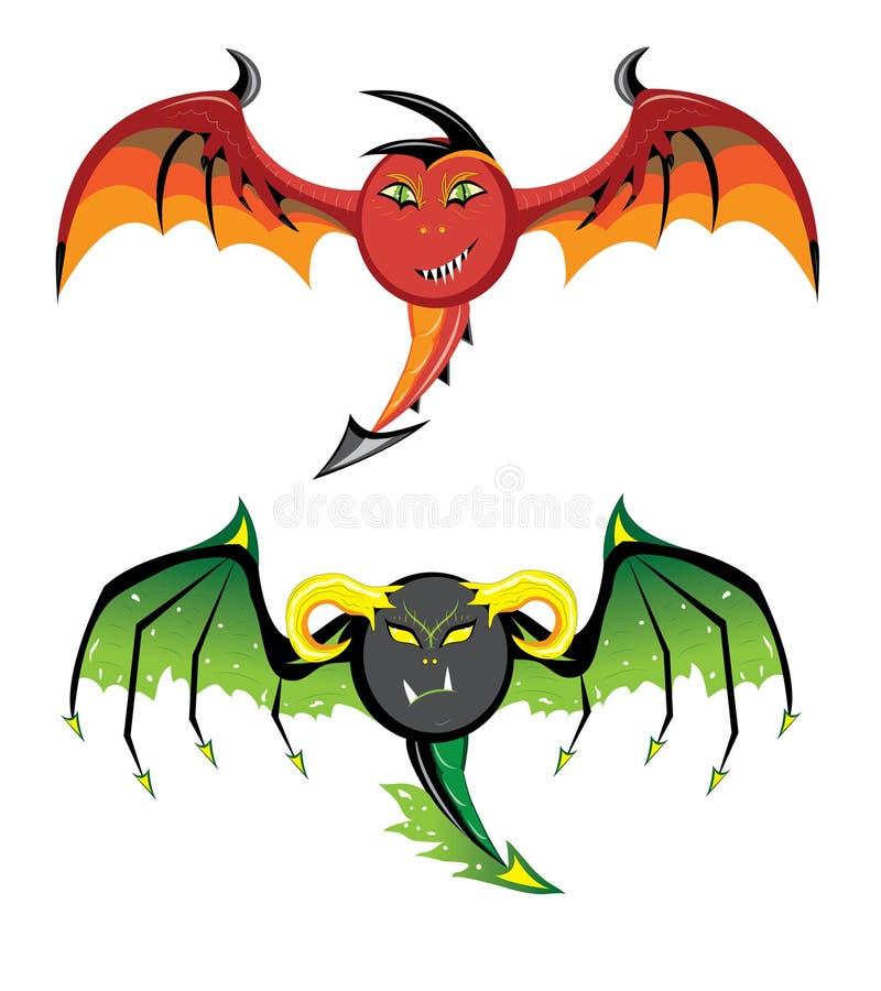 Dragones de Smilies rojos y negros. ilustración del vector