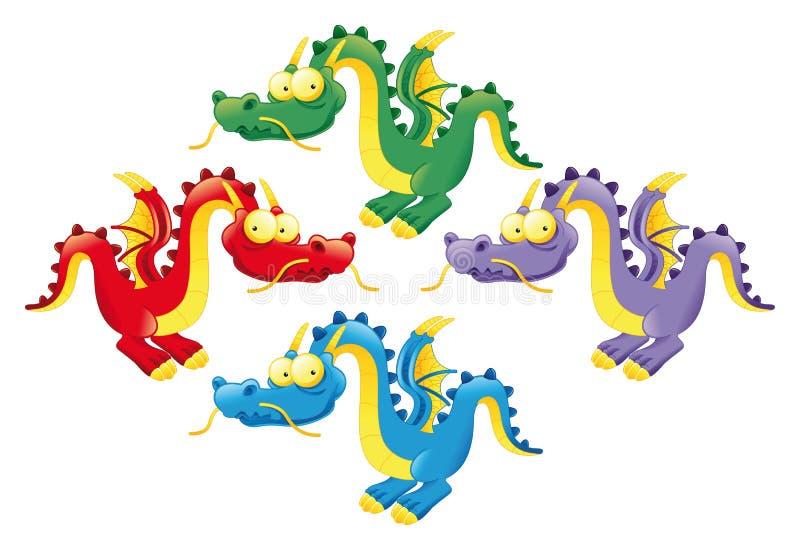 Dragones divertidos ilustración del vector