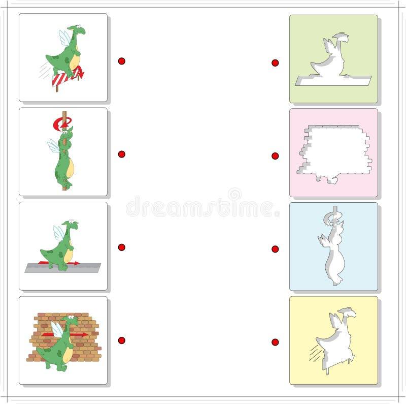 Dragones verdes de la historieta Juego educativo para los niños ilustración del vector