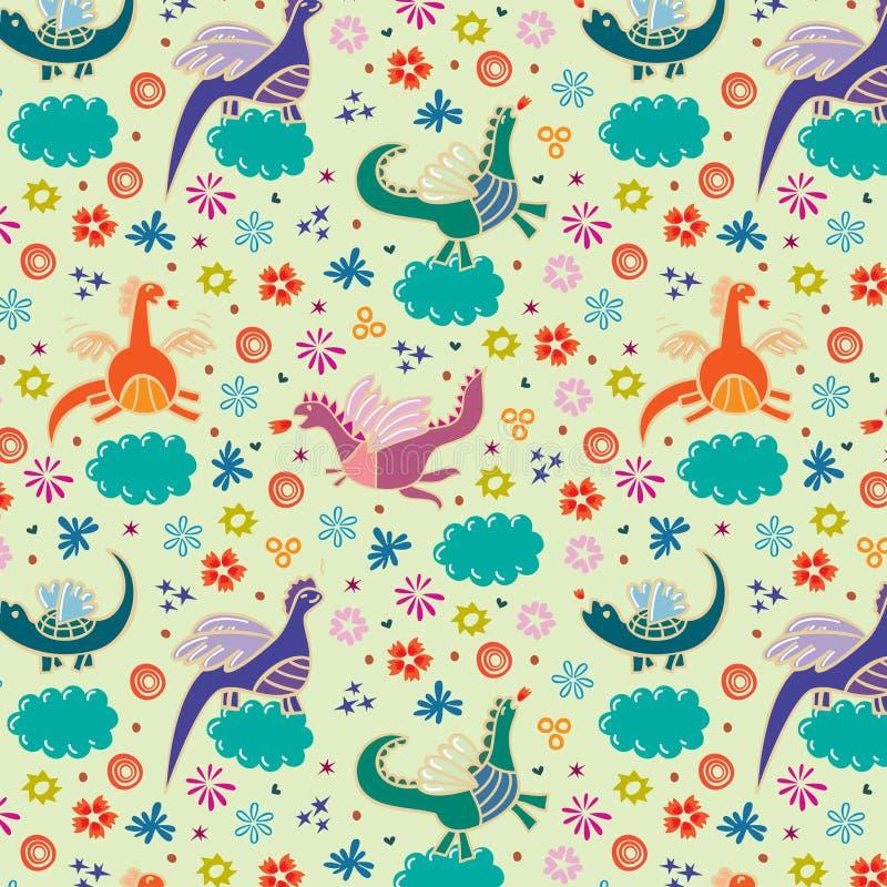 Dragones y nubes stock de ilustración