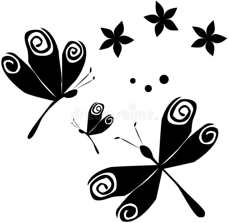Dragonflies & Flowers (B&W) stock illustration