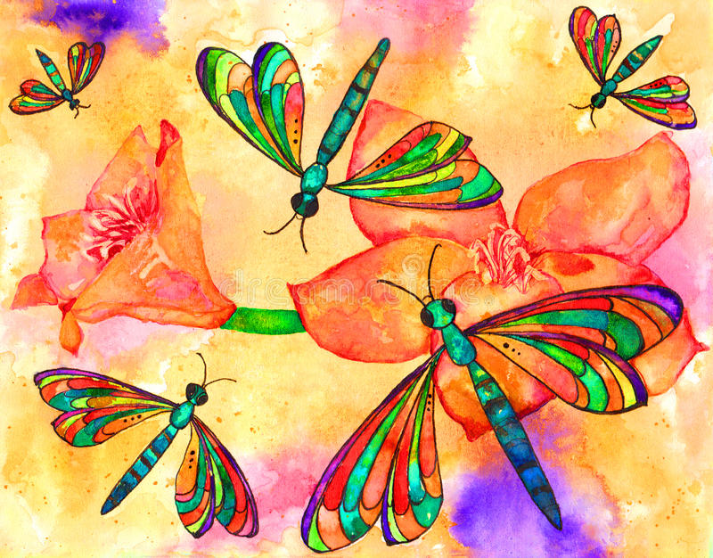 Dragonflies. Vibrant dragonflies watercolor painting with flowers background