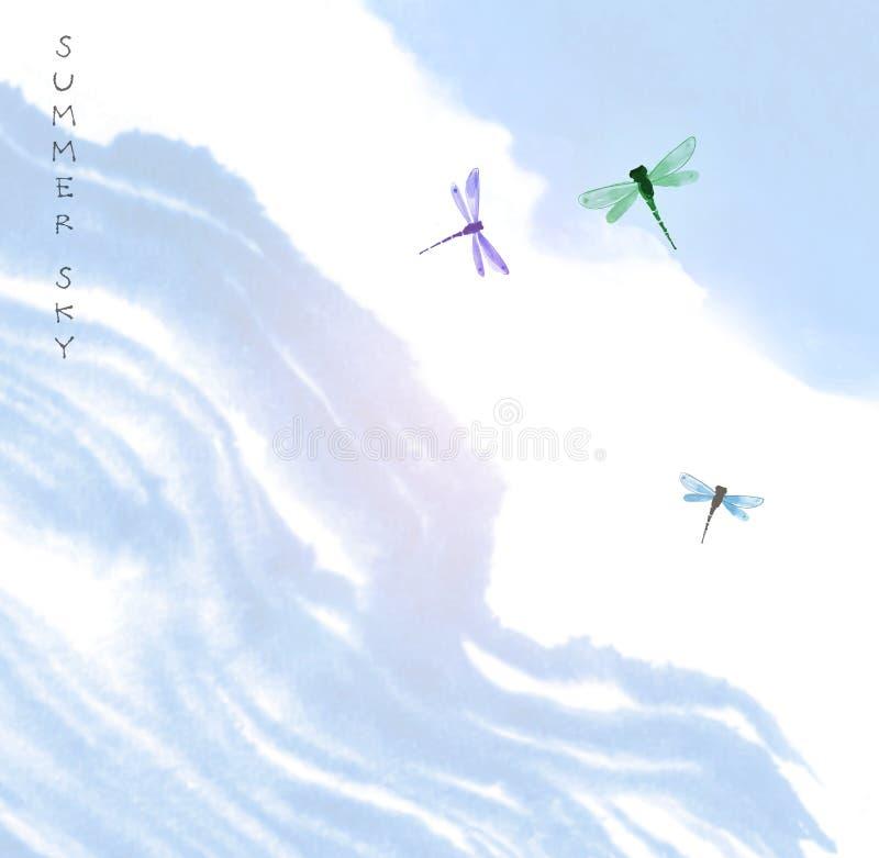 Dragonflies w błękitnym lata niebie Tradycyjny orientalny atramentu obrazu sumi-e, grzech, Hua royalty ilustracja
