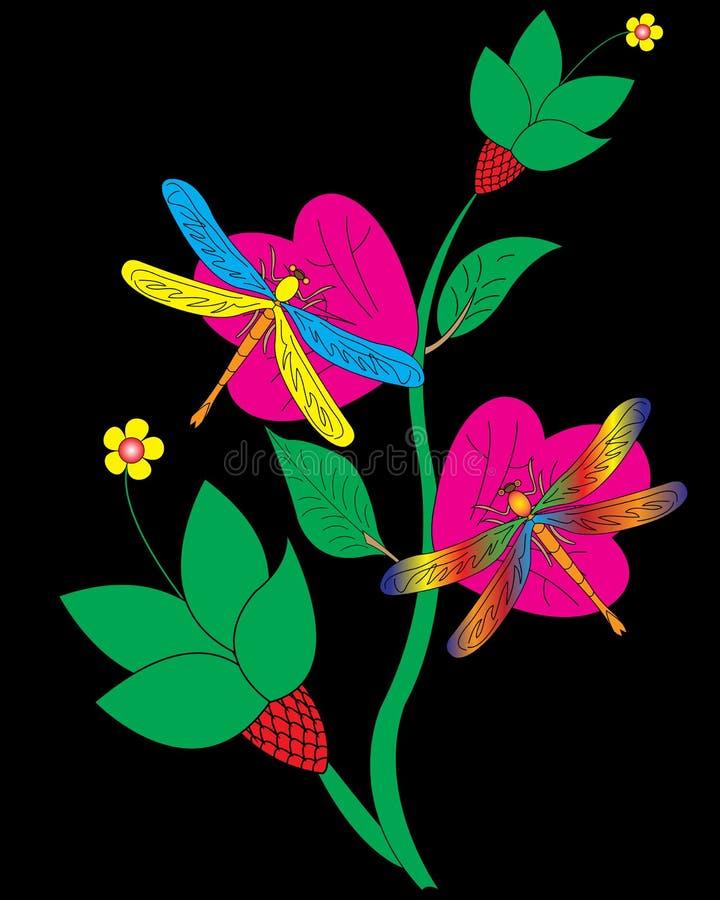 Dragonfly и цветок стоковые фото