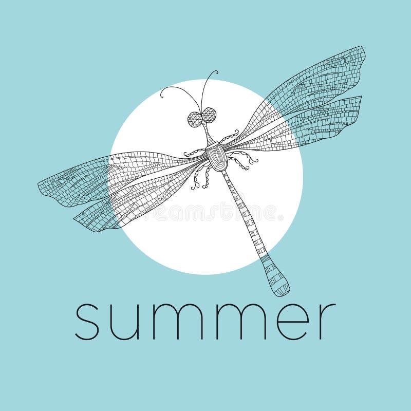 Dragonfly, линия иллюстрация красотки вектора искусства бесплатная иллюстрация