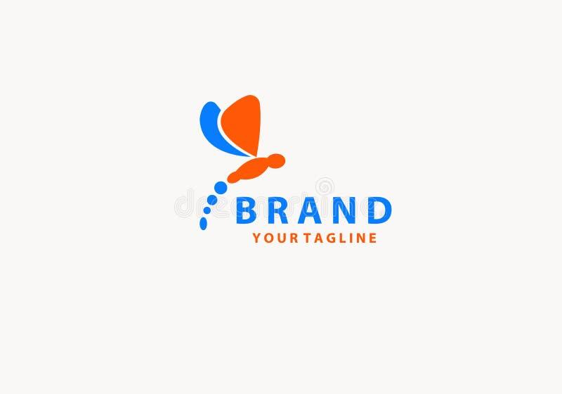 Dragonfly с абстрактным символом логотипа цвета бесплатная иллюстрация
