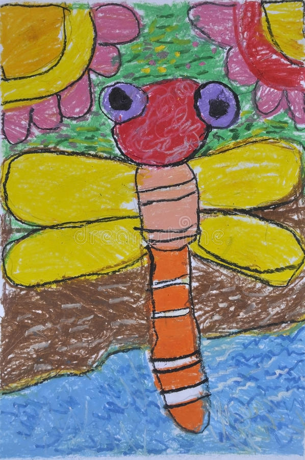 Dragonfly as free hand drawing. From color crayon techniques from 5 years old Thai young artist illustrated children are learning kind royalty free stock image