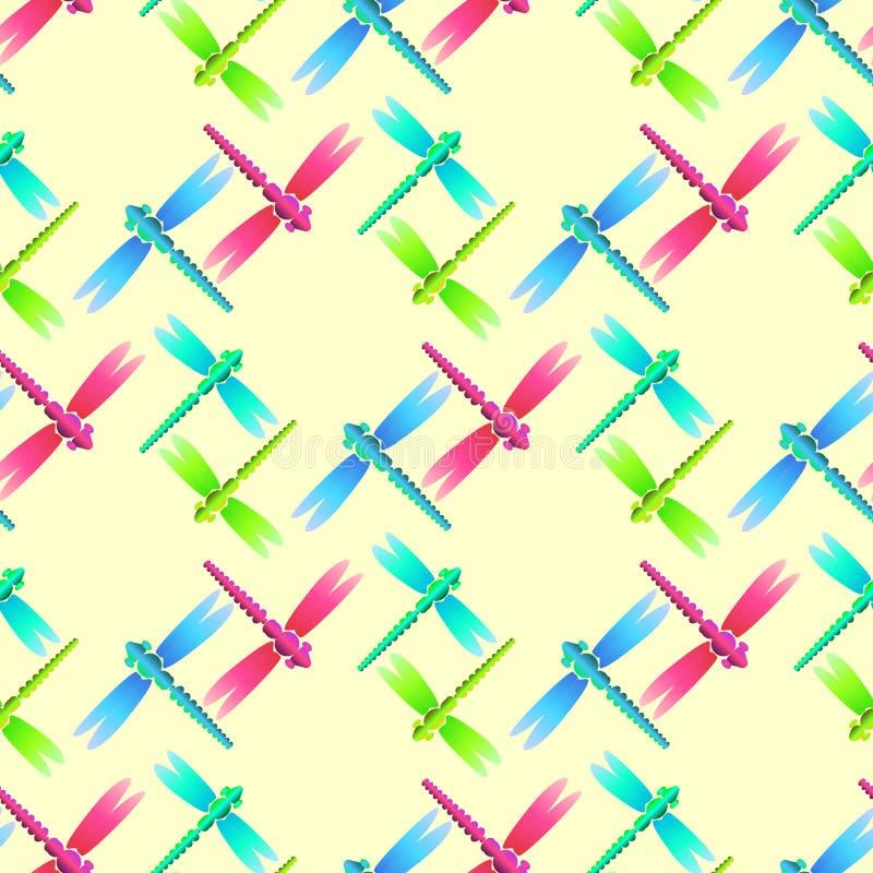 Dragonfly błękita zielonych menchii biały bezszwowy wzór ilustracja wektor