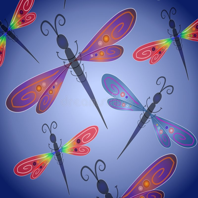 Dragonfly Background in Blue vector illustration