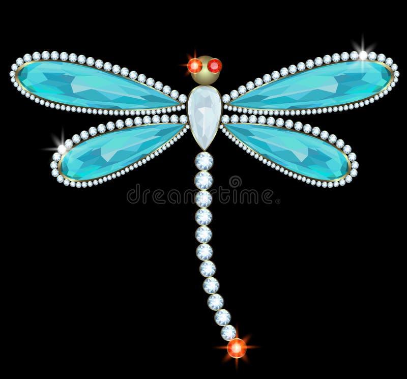 Dragonfly-brooch vector illustration