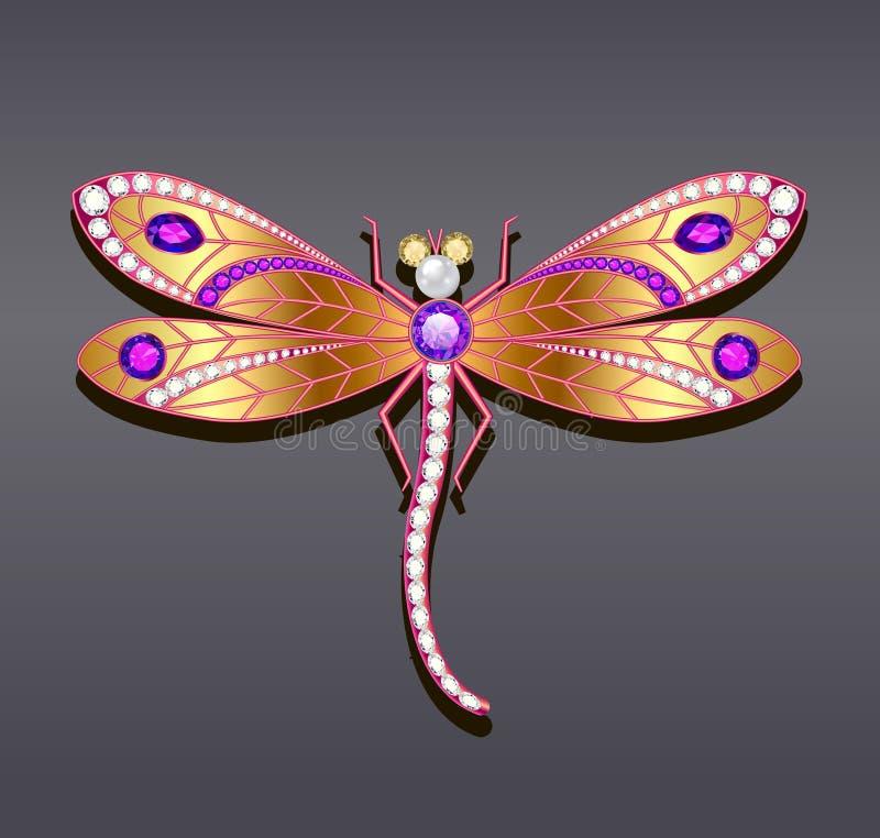 dragonfly broszka robić złoto z cennym st ilustracja wektor