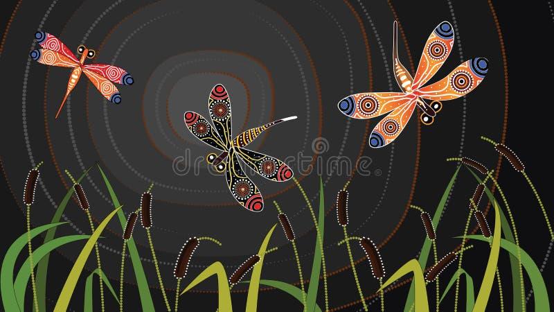 Dragonfly aboriginal art vector painting. Dragonfly on cattails aboriginal art vector painting.Aboriginal vector illustration