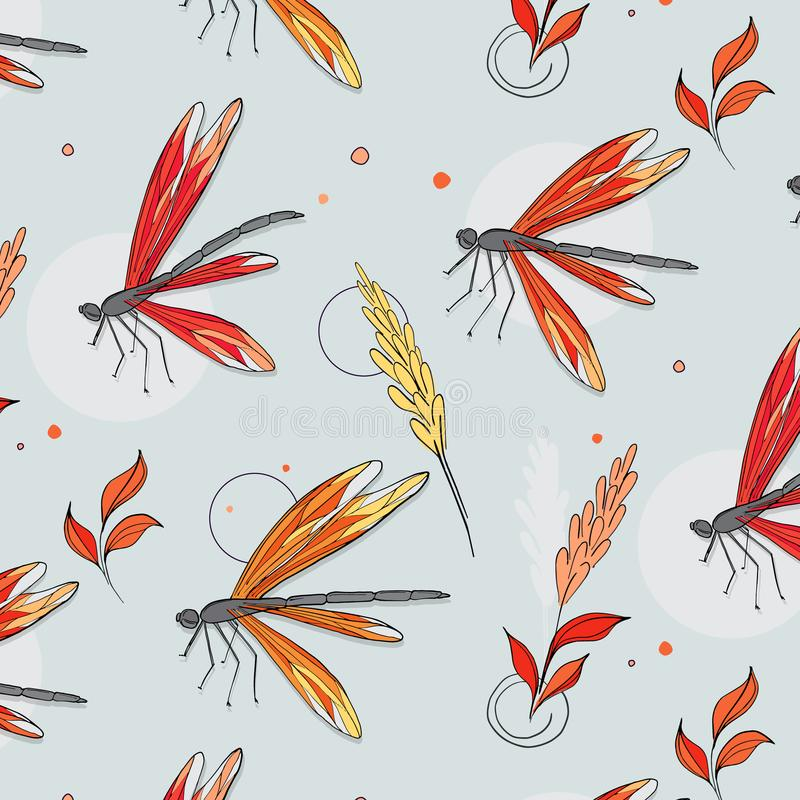 Free Dragonfly Colorful Pattern. Botanical Spring Summer Sketch Drawing. Butterfly Floral Decoration. Surface Cloth Wrap Royalty Free Stock Photos - 122848488