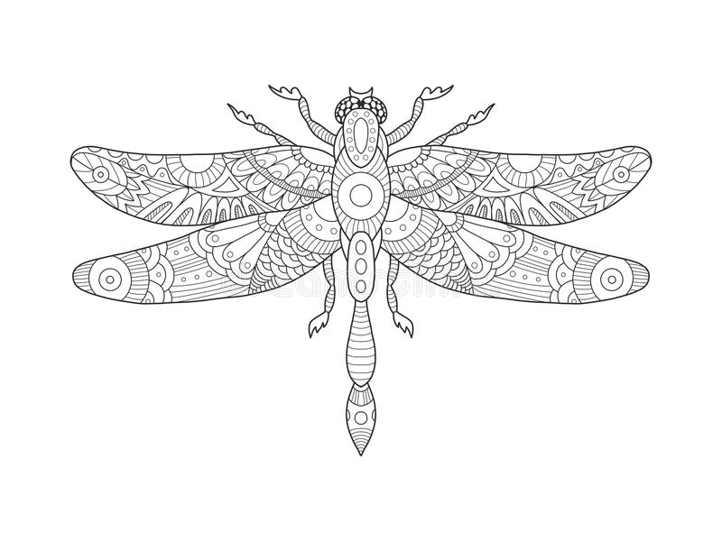 Dragonfly coloring book for adults vector. Illustration. Anti-stress coloring for adult. Tattoo stencil. Zentangle style. Black and white lines. Lace pattern vector illustration