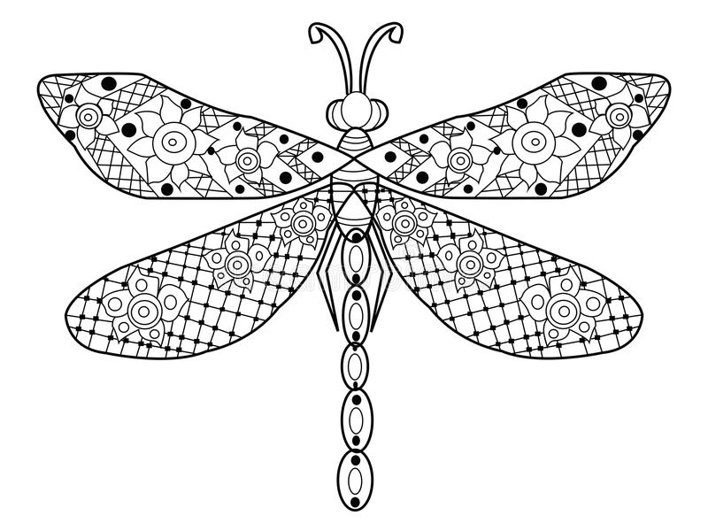 Dragonfly coloring vector for adults stock vector for Dragonfly coloring pages