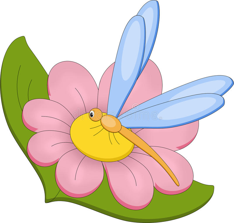 Download Dragonfly on flower stock illustration. Image of yellow - 25212126