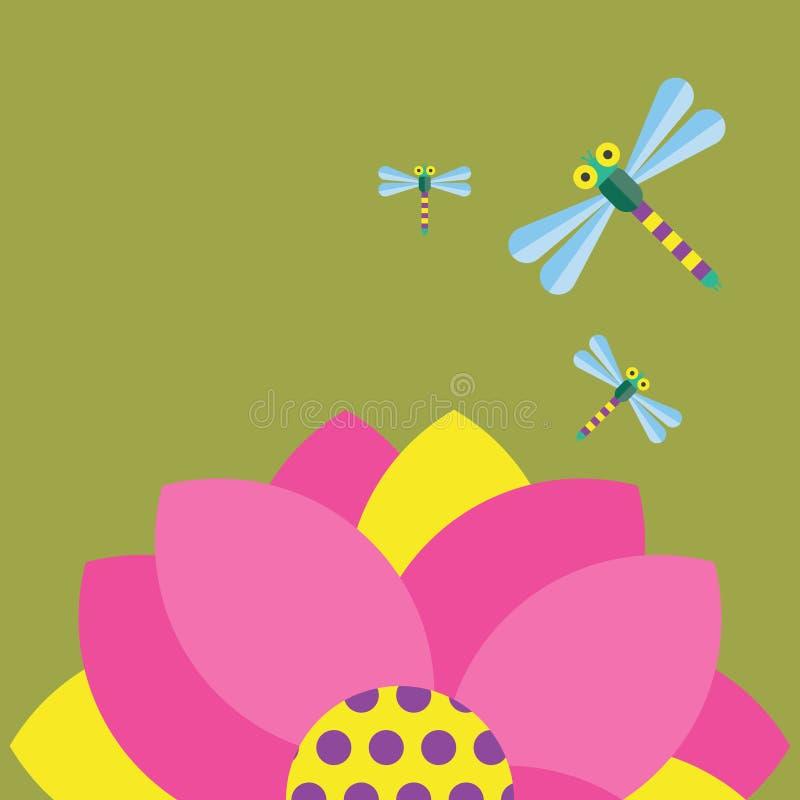 Dragonfly and Flower Illustration stock illustration