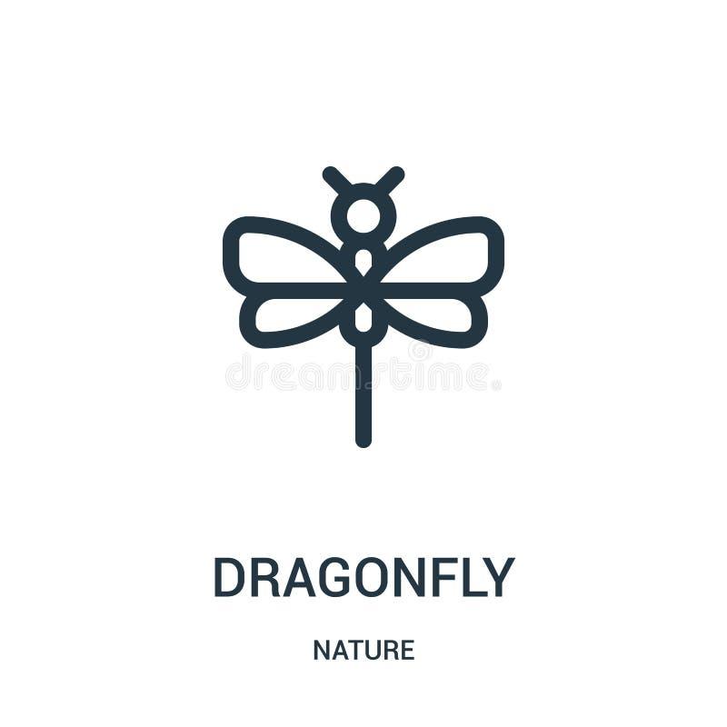 dragonfly ikony wektor od natury kolekcji Cienka kreskowa dragonfly konturu ikony wektoru ilustracja Liniowy symbol dla używa na  royalty ilustracja