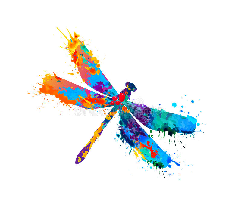 Free Dragonfly Of Splash Paint Royalty Free Stock Photography - 79430207