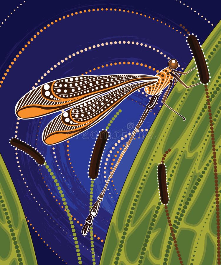 Free Dragonfly On Cattails Aboriginal Art Vector Painting Stock Photos - 118120793