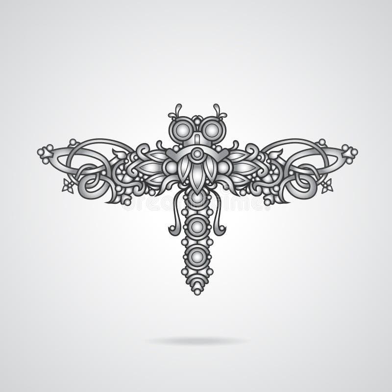 Dragonfly ornament. Dragonfly shaped ornament vector illustration vector illustration