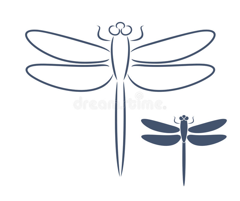 Dragonfly Outline Isolated Dragonfly On White Background Stock