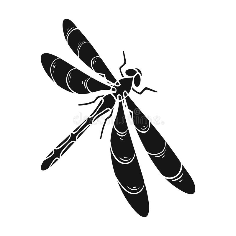 A dragonfly, a predatory insect.Dragonfly flying invertebrate insect single icon in black style vector symbol stock. Isometric illustration royalty free illustration