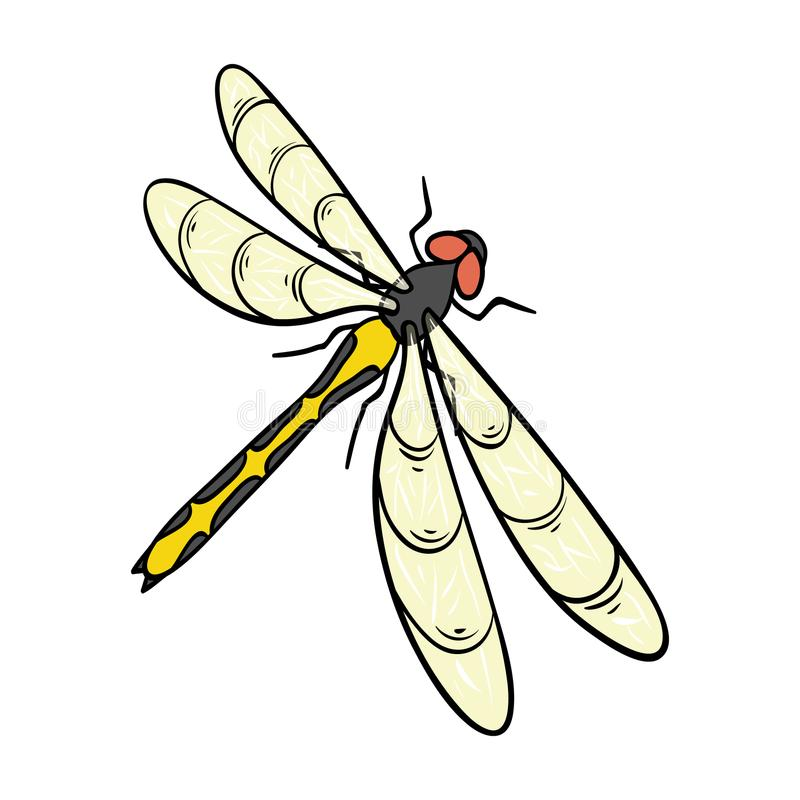 A dragonfly, a predatory insect.Dragonfly flying invertebrate insect single icon in cartoon style vector symbol stock. Isometric illustration vector illustration