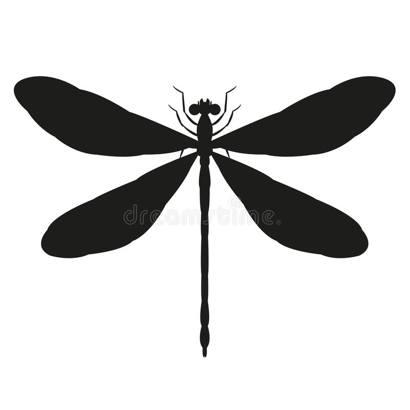 Free Dragonfly Vector Illustration Black Silhouette Front Royalty Free Stock Images - 127983689