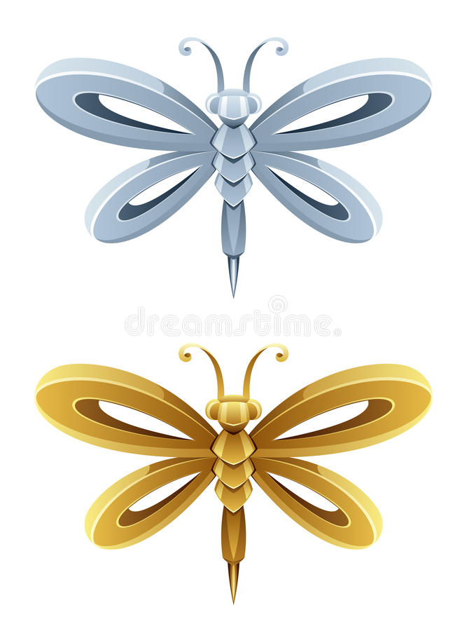Download Dragonfly stock vector. Image of design, gilt, decorative - 35046779