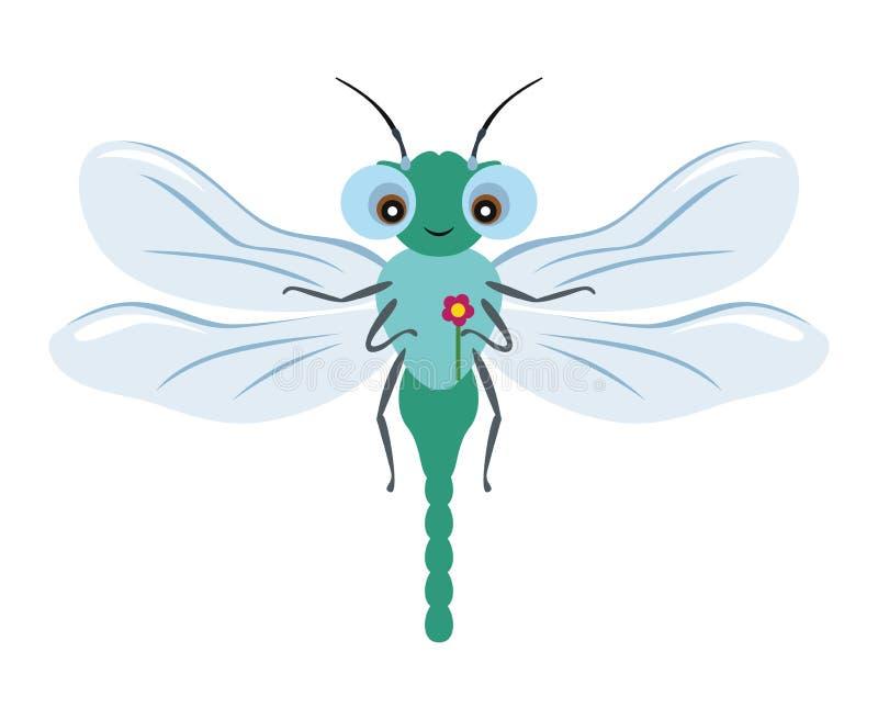 Dragonfly z kwiatem odizolowywającym na białym tle royalty ilustracja