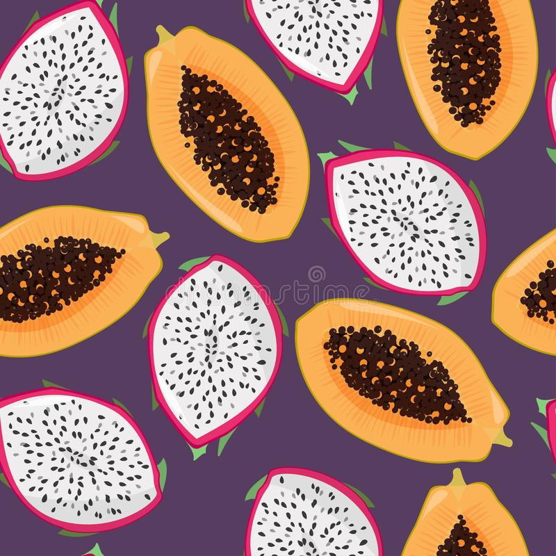 Dragonfruit pitaya, pitahaya i melonowa jaskrawy bezszwowy wzór, Lato świeżych owoc tło ilustracja wektor