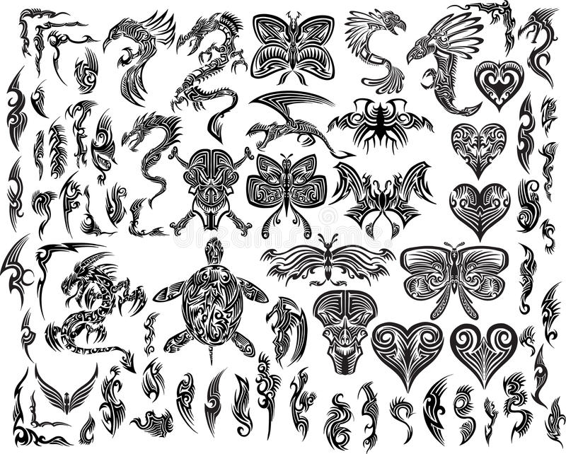 Dragons Butterfly Eagle Tattoo set vector illustration