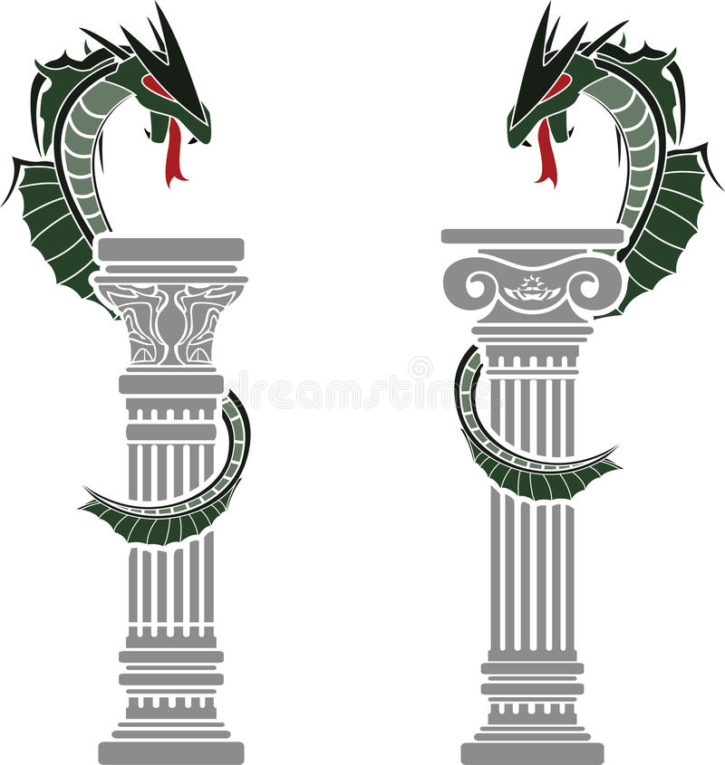 Download Dragons And Columns Royalty Free Stock Images - Image: 29271869